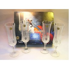 Longchamp Cristal D'Arquis Champagne Set of 4 Glasses 24% Lead Crystal Boxed