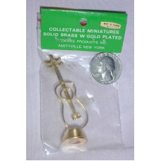 Doll House Miniatures Base Guitar Solid Brass with Gold Plating New in Packaging