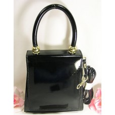 Black Patent Vynal Hand Bag Purse Evening Everyday Include Handle & Shoulder