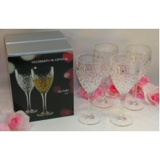 Rogaska Celebration Crystal Set of 4 Four Ice Cold Wine Glasses Great Gift