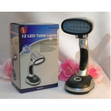 Battery Powered 12 LED Table Lamp Super Bright White Bulbs up to 100K hours