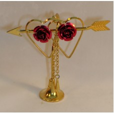 Doll House Miniatures Hearts & Roses Solid Brass w Gold plating New in Packaging