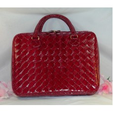 Estee Lauder Tote Extra Large Make Up Case Travel Bag Red Patent Leather