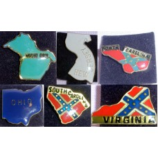 Collectible State Pins Lot #6 from 6 States  NJ, SC, NC, VA, MI, OH