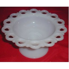 """Vintage Collectible Milk Glass footed bowl 7"""" wide 3 1/2"""" tall"""