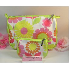 Clinique 2 Piece Makeup Purse Cosmetic Bag Pink Yellow Lime Green Floral