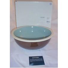 Dansk Coconut Grove Azure Blue / Brown Serving Bowl Great Hostess Gift