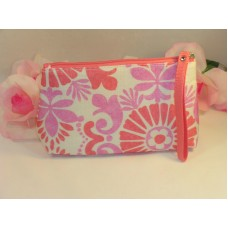 Clinique Makeup Cosmetic Bag Case Purse Pink & Lavender Floral  Travel Home
