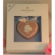 Wedgwood Pink White Jasperware Breast Cancer Heart Christmas Ornament Limited Edition