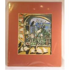 """Birds Through a Window Matted Print 13 1/2"""" x 11"""" Tropical Island Rust Mat"""