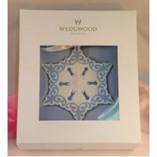 Wedgwood White and Blue Jasperware Pierced Snowflake Ornament