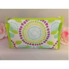 Clinique Makeup Cosmetic Bag Case Purse Purple & Green Floral  Travel Home
