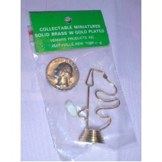 Doll House Miniature Snoopy Dog Solid Brass with Gold plating New in Packaging