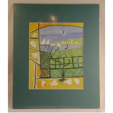 """Birds Through a Window Matted Print 13 1/2"""" x 11"""" Tropical Island Blue Mat"""