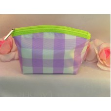 Clinique Makeup Cosmetic Bag Case Purse Purple & White Checked  Travel Home