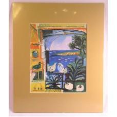 """Birds Through a Window Matted Print 13 1/2"""" x 11"""" Tropical Island Tan Mat"""