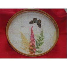 "Bamboo And Glass Top Serving Tray 11"" Diameter Butterfly with Fern Leaf Pattern"