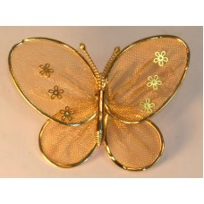 Gold Tone Butterfly Pin Mesh Wings Solid Body And Antenna Animal Flying Insect