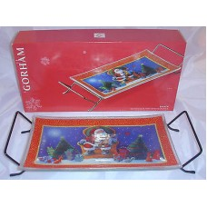 Gorham Crystal Rectangular  Serving Tray & Metal Rack Sant Christmas Gift