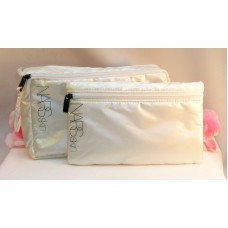 NARS Skin Makeup Bags Set of 2 Ivory Cream Colored Pearlescent Metalic Tote