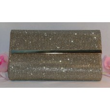 Bare Minerals Evening Bag Purse Glamorous Clutch Gold Metallic Sparkle