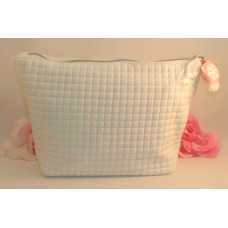 Clarins of Paris Quilted White Bag for Makeup Cosmetics Brushes Case Tote