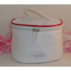 Clarins of Paris White Bag / Red Trim for Makeup Cosmetics Brushes Case Tote