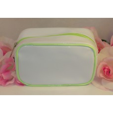 Clinique Makeup Cosmetic Bag White Vynal Green Trim Satin Interior