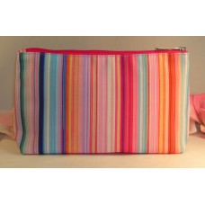 Clinique Makeup Cosmetic Bag Case Purse Pink Stripes Pink Satin Travel Home