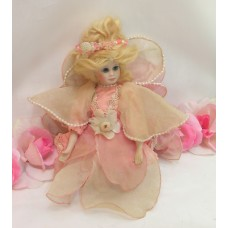 Vintage China Porcelain Fairy Doll Kneeing Pink Silky Dress Beeded Tule Flowers