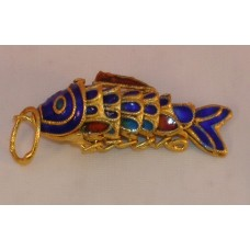 Vintage Cloisonne Enamel Articulated Fish Pendant Blue and Gold Tone Koi lot #2