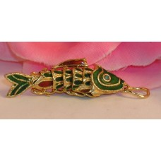 Vintage Cloisonne Enamel Articulated Fish Pendant Green & Gold Tone Koi lot #7