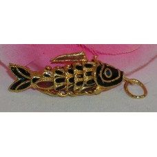 Vintage Cloisonne Enamel Articulated Fish Pendant Black and Gold Tone Koi lot #8
