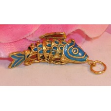 Vintage Cloisonne Enamel Articulated Fish Pendant Blue and Gold Tone Koi lot #6