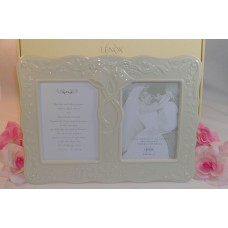 "Lenox Wedding Promises Double Photo Frame Holds 2 5x7 Photographs 14"" x10.5"""