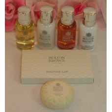 Molton Brown 6 Pc Set Shampoo Body Wash Conditioner Lotion Shower Cap Soap