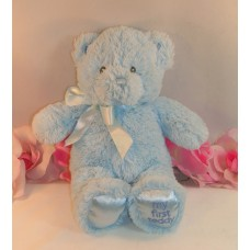 "Plush Baby Gund My First Teddy  Blue Chenille Bear 9"" 021033 Soft Plush Toy Sewn Eyes"