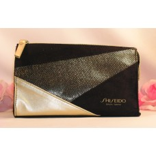 Shiseido Makeup Bag Cosmetic Case Purse Color Black and Gold for Home Travel