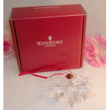 Waterford Lead Crystal Snow Crystal Pierced Christmas Tree Ornament Ribbon