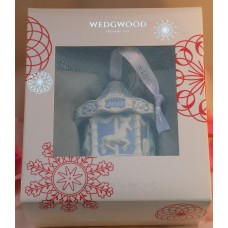 Wedgwood Blue Jaspeware Baby 1ST First Christmas Carousel Ornament 2015