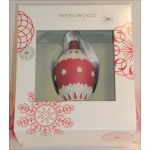 Wedgwood Red and White Jaspeware Christmas Red NeoClassical Bauble Teardrop