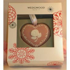 Wedgwood Pink White Jasperware Breast Cancer Heart Christmas Ornament