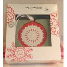 Wedgwood Red / White Jaspeware Christmas Red NeoClassical Disc Ornament Tree
